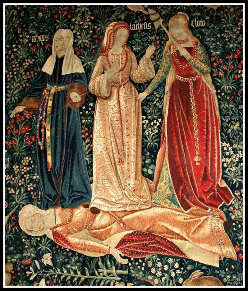 """""""The Triumph of Death"""", or """"The Three Fates"""". Flemish tapestry (probably Brussels, 1510-1520)."""