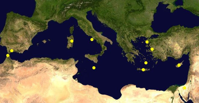 Hypothesised locations of Atlantis in the Mediterranean Courtesy of Wikipedia
