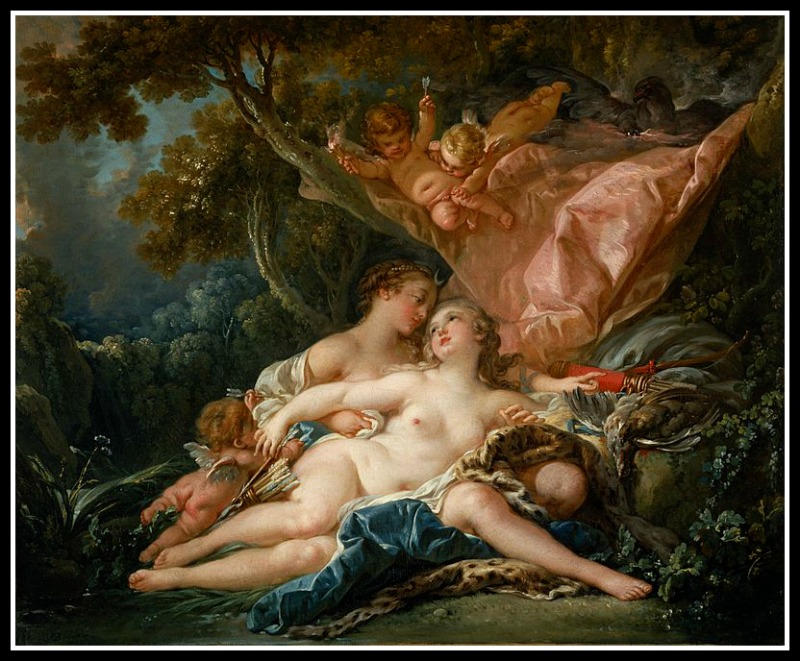 """Jupiter and Callisto"" by François Boucher. In this painting Jupiter (Zeus) takes the  form of Artemis/Diana 91759)."