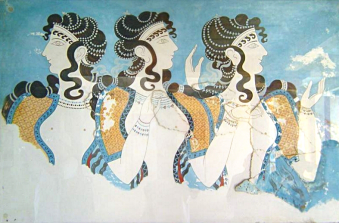 """""""Knossos fresco women"""" by cavorite - http://www.flickr.com/photos/cavorite/98591365/in/set-1011009/. Licensed under CC BY-SA 2.0 via Commons - https://commons.wikimedia.org/wiki/File:Knossos_fresco_women.jpg#/media/File:Knossos_fresco_women.jpg"""