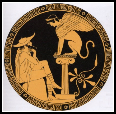 The Shinx presenting her riddle to Oedipus. Attic Red Figure. 450 - 440 BC.