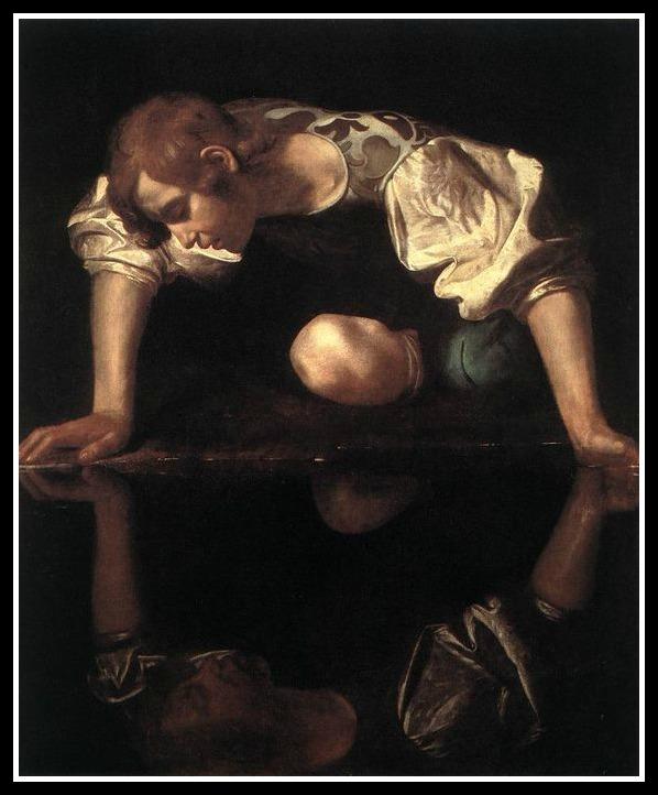 """Narcissus"" by Caravaggio. 1597."